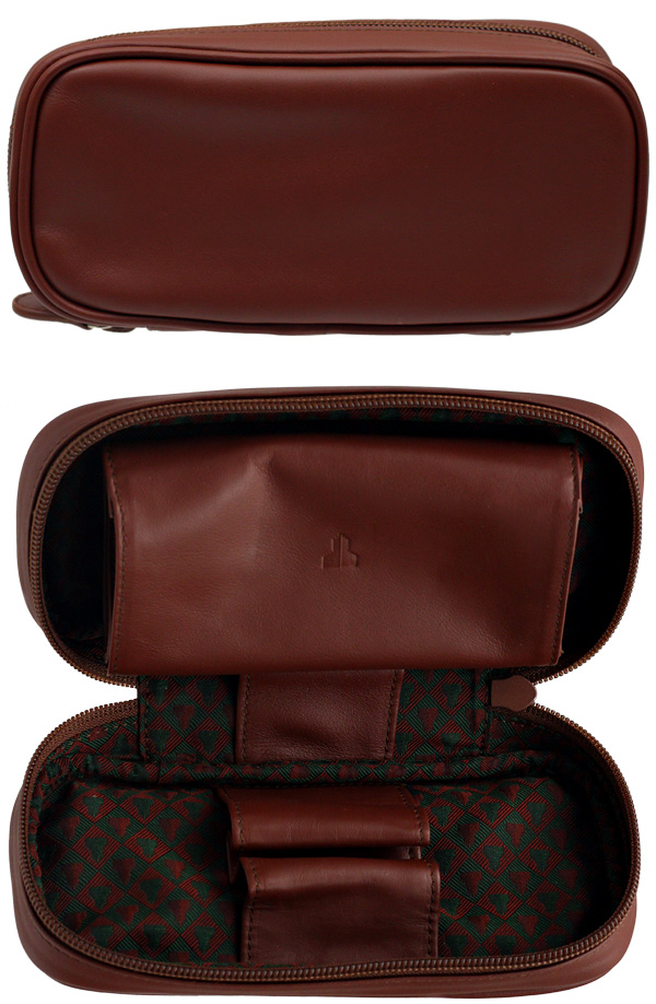 Castello Leather 2 Pipe Case with Pouch Cordovan