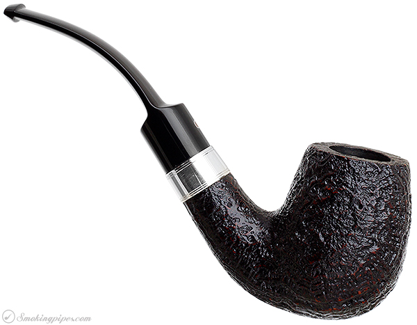 Ashton Pebble Grain Bent Billiard with Silver Band (LX)