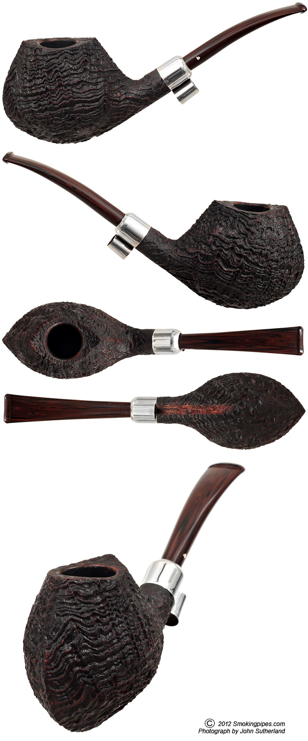 Sandblasted Strawberry Wood Bent Apple with Silver Army Mount (Four Clubs)