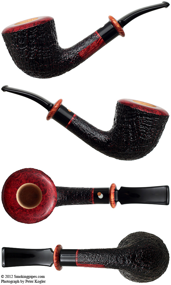 Sandblasted Bent Dublin with Briar Ring