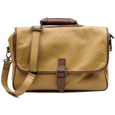 Claudio Albieri Pipe Briefcase Tan/Chestnut Italian Leather