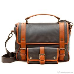 Claudio Albieri Briefcase with Pouch Chocolate/Acorn Italian Leather