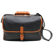 Claudio Albieri Premier Pipe Briefcase Chocolate/Orange Italian Leather with Lambskin Interior